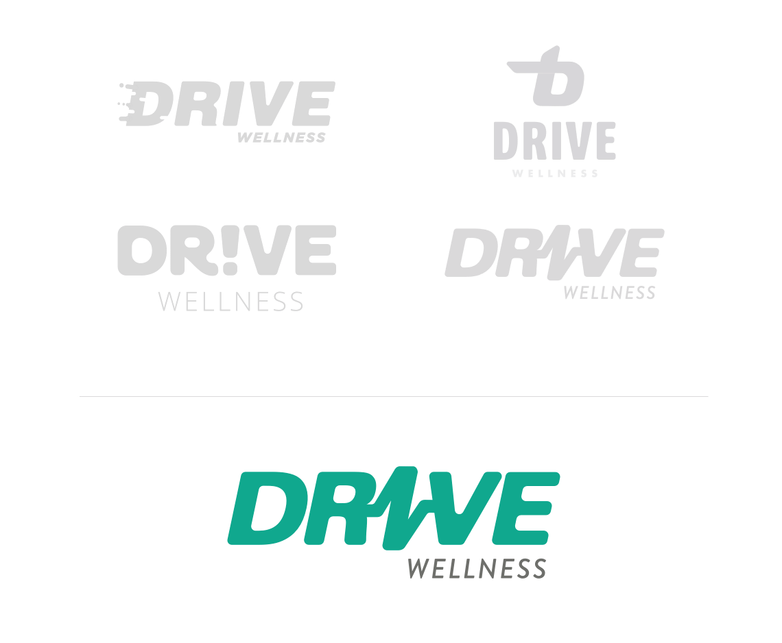 Drive Wellness logo process