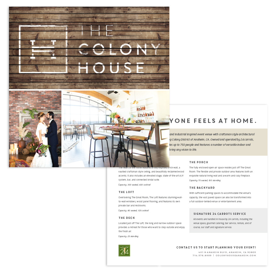 The Colony House Marketing Card