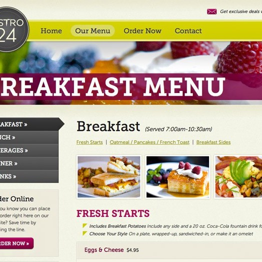 Bistro 24 breakfast website menu