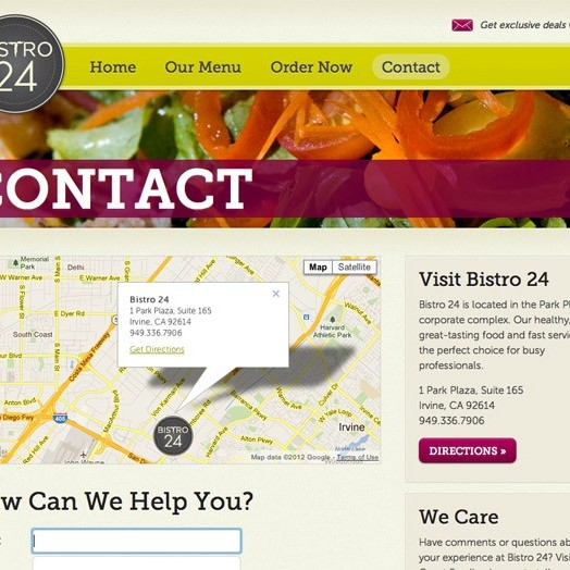 Bistro 24 website contact page