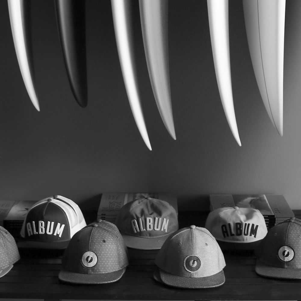album hats, surfboards, gear