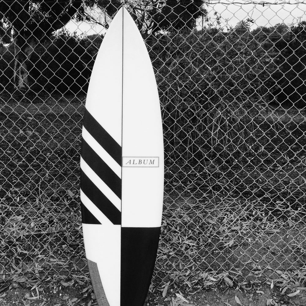 black and white surfboard