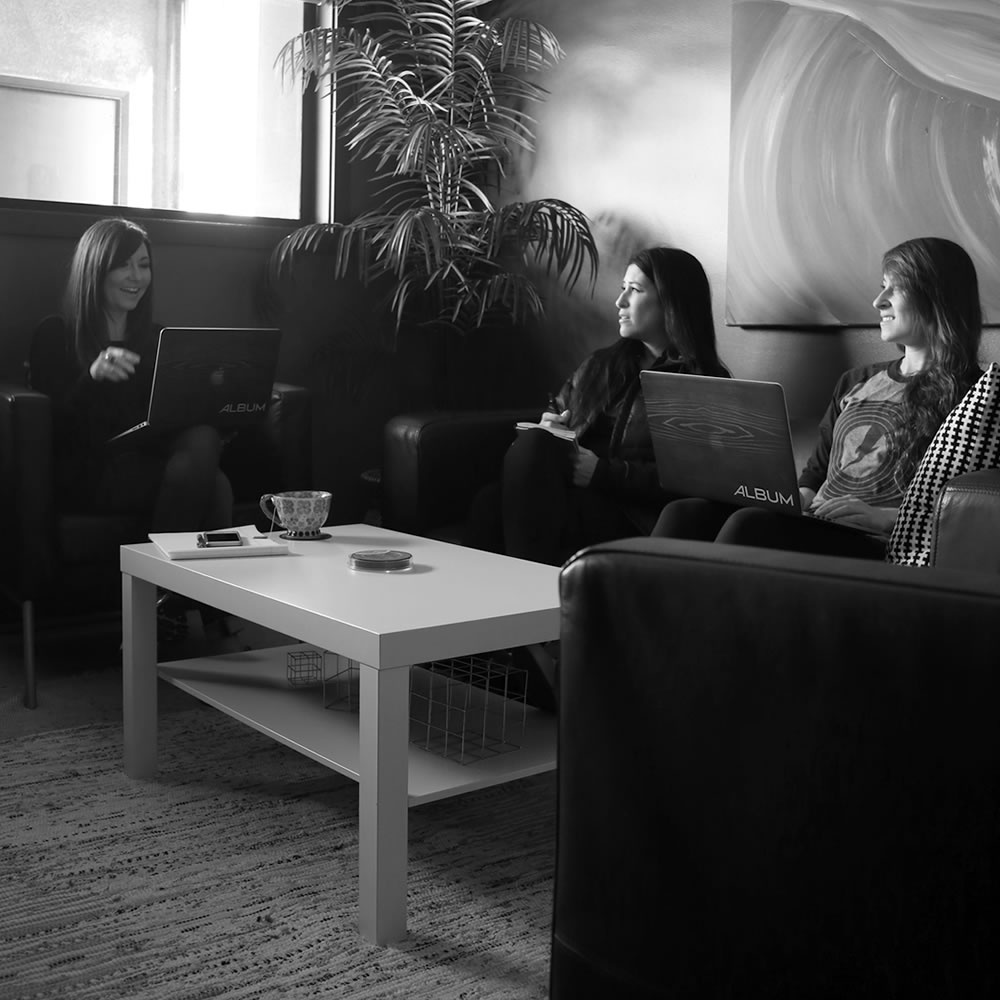 agency creative brainstorm meeting in black & white