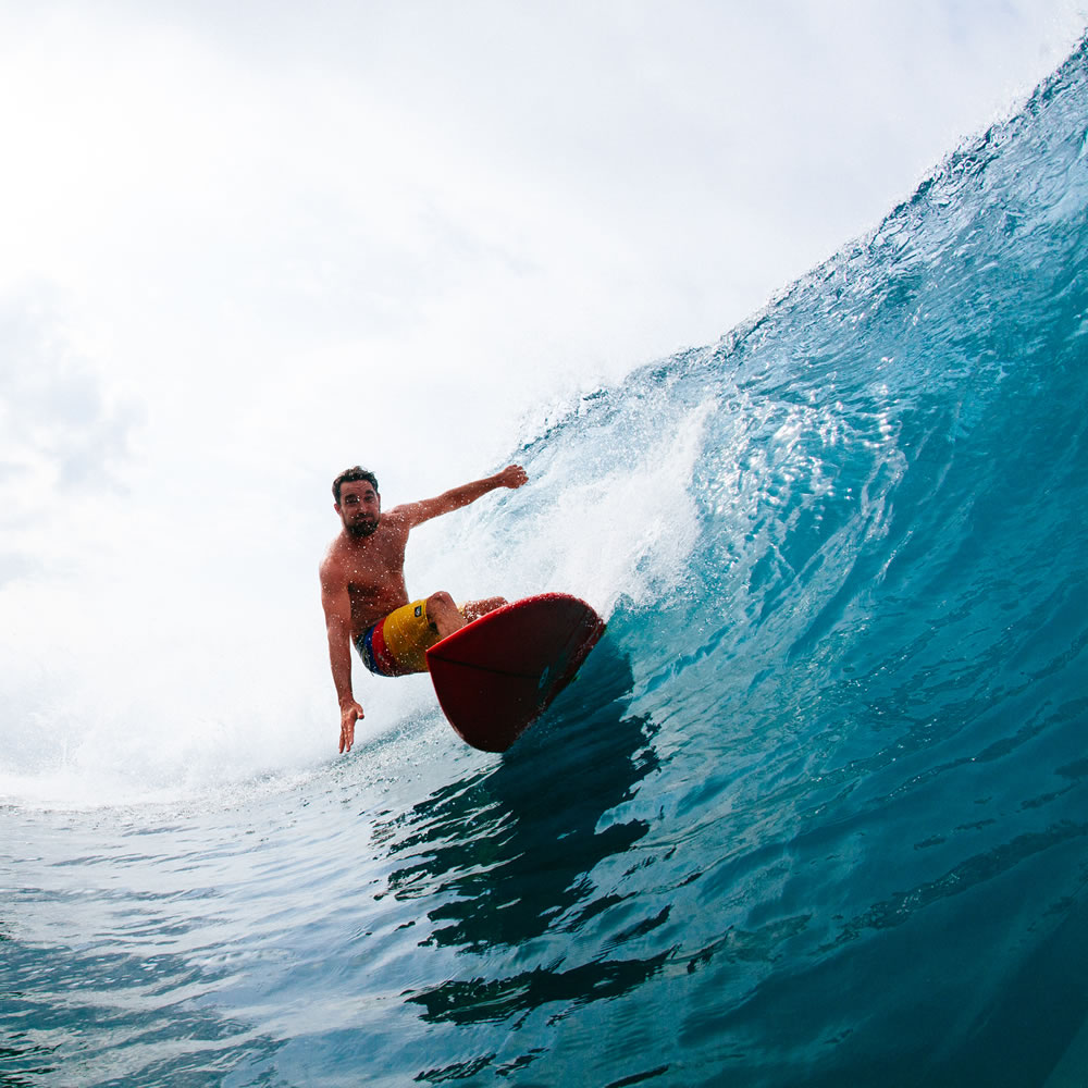 Nathan Harris surfing Indonesia on an Album Ledge