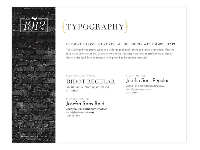 1912 typography guide with fonts