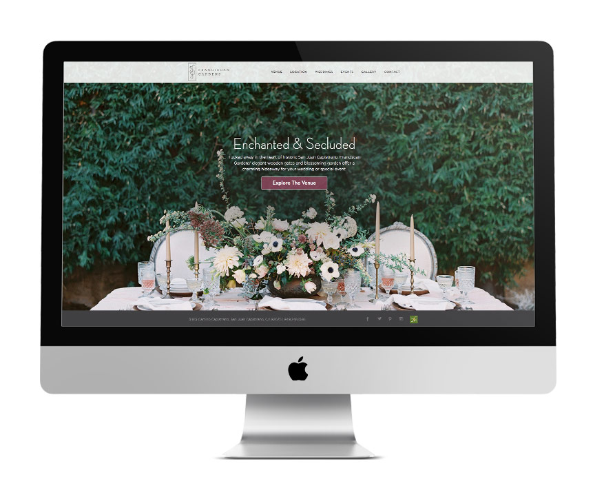 Franciscan Gardens - Website - Desktop View