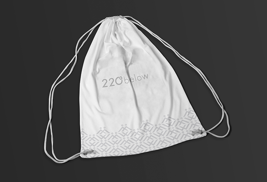 220 below branded drawstring bag