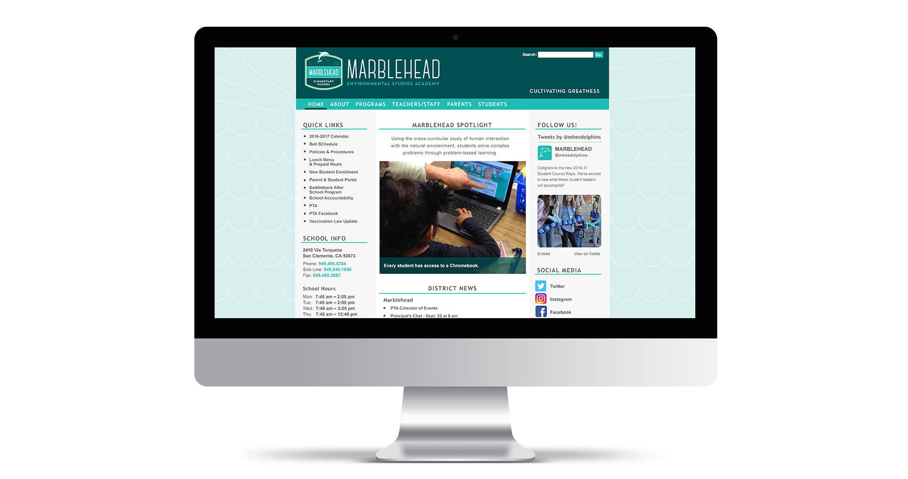 marblehead elementary school website design