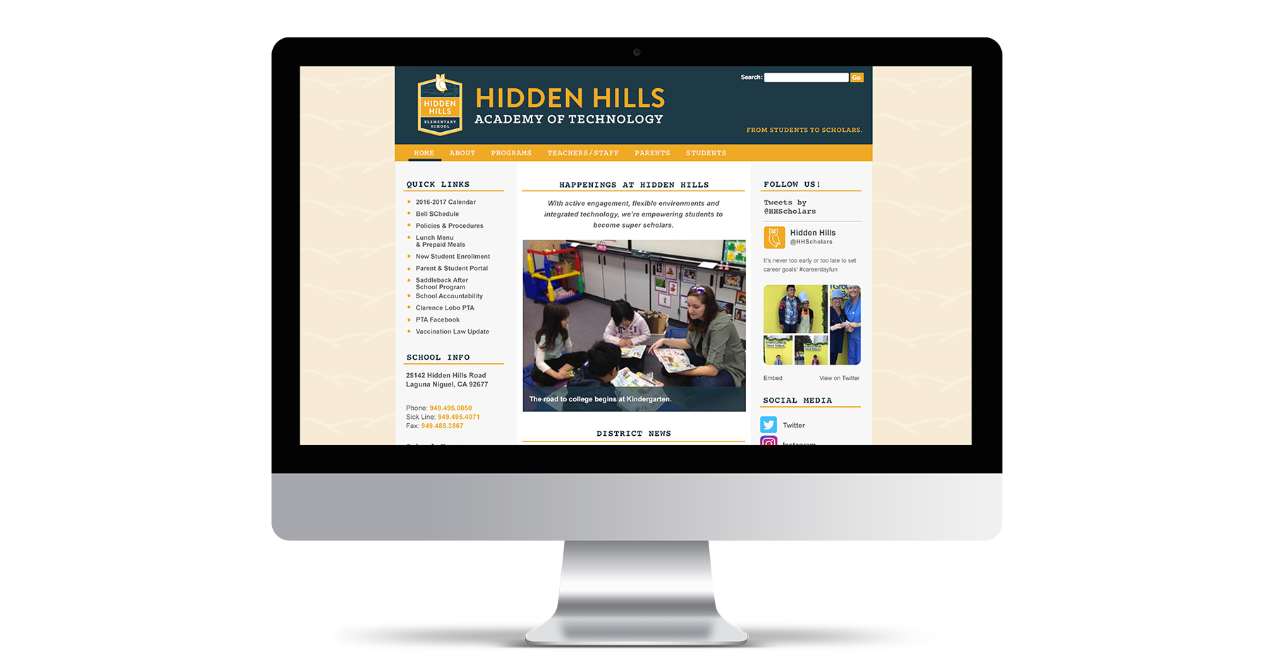 hidden hills elementary school website design