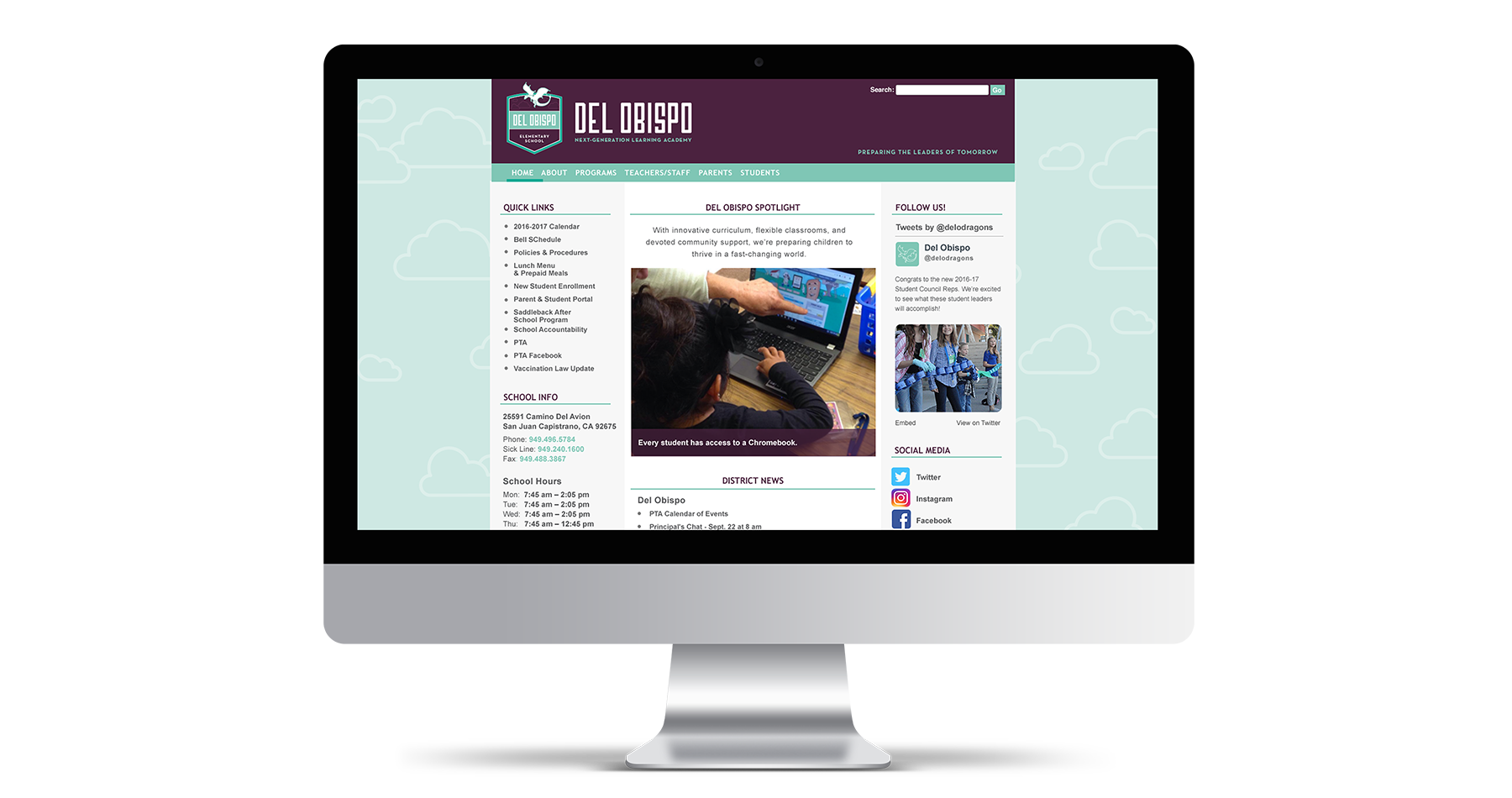 del obispo elementary school website design