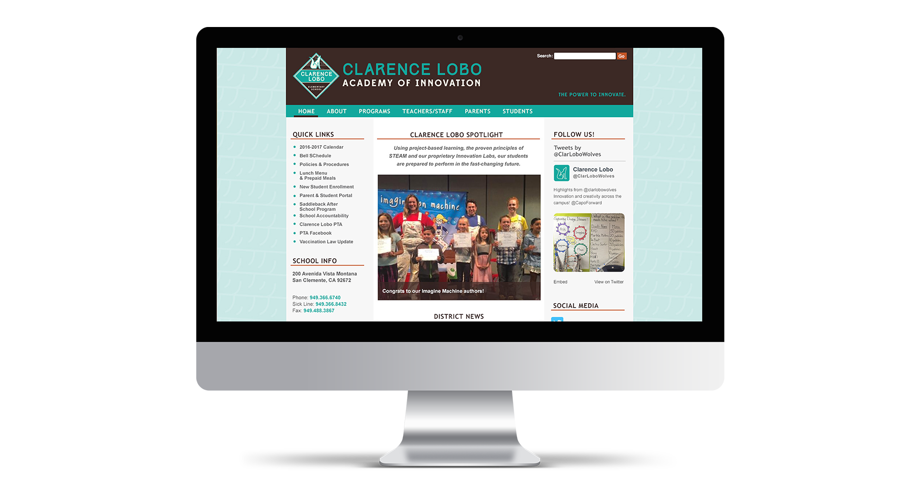 clarence lobo elementary school website design